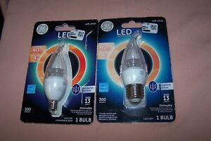 (2) GE LED CAC Candelabra Base 4w/40w Decorative Clear Soft White Bulbs Dimmable