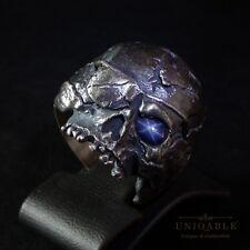Pirate Biker SKULL Ring Handmade Sapphire SIZE 12 Sterling Silver Harley Masonic