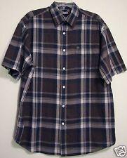 Nautica Jeans Brown Blue Plaid M Button Short Sleeve Pocket Camp Mens Shirt