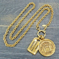 CHANEL Gold Plated CC Logos Cambon Charm Vintage Necklace Pendant #5852a Rise-on