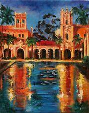 Balboa Parc Reflétant Étang Lumières San Diego Original Peinture à L'Huile YARY