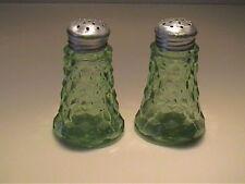 VINTAGE 1930'S GREEN CUBE OR CUBIST SALT & PEPPER SHAKERS - ORIGINAL LIDS