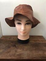 Vintage Ladies Tan Leather Outback Hat, Good Condition size S/M Sun Hat