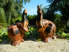 Wooden Elephant Carvings - Pair of Lucky Elephants Trunk Up - Approx H15cm