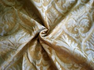 "GOLDEN WHITE DAMASK DRAPERY FURNITURE UPHOLSTERY FABRIC 68"" L 84""W + Extra Piece"
