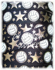 7/8 Black Volleyball Rock Star Silver Bling Grosgrain Ribbon 4 Cheer Hairbow