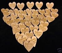 Personalised Wooden Love Hearts Table Decorations Favours Wedding Rustic Vintage