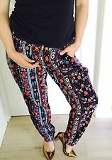 MINT WOMENS PANTS FLORAL PRINT ELASTIC WAIST COMFORT Pockets Work Party SZ 14