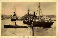 Schiffe ~1920/30 Cargo Schiff Port Hafen von Sète Carte Postale Frankreich