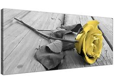 Modern Black and White Canvas Art of Yellow Rose