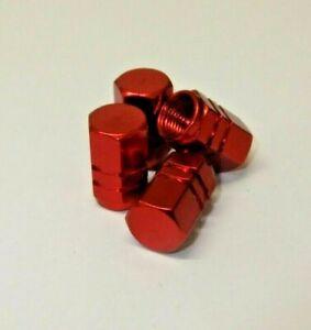 Tyre Valve Dust Caps Red Hexagonal Metal Wheel Car Bike 4 x Top Quality