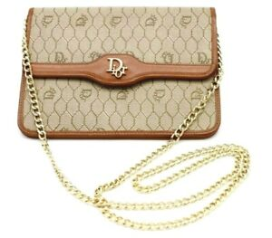 【Rank A】 Authentic Christian Dior Honeycomb Chain Shoulder Clutch Bag Vintage CD