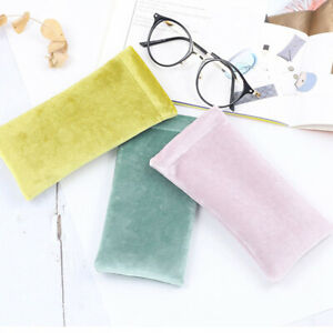 Portable Sunglasses Pouch Bag Solid Color Eyeglasses Protective Soft Container