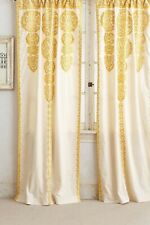 "NEW Anthropologie Embroidered Marrakech Panel 42"" X 108"" Curtain Yellow"