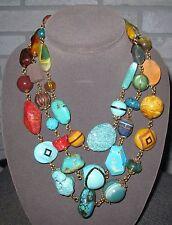 Stunning RARE Monumental Stephen Dweck Statement  turquoise Stone Necklace LQQK