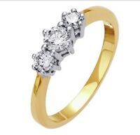 Everlasting Love 18ct Gold 0.50ct Diamond Trilogy Ring - Size O RRP £799