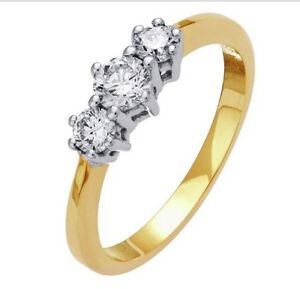 Everlasting Love 18ct Gold 0.50ct Diamond Trilogy Ring - Size N RRP £799
