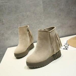 Casual Women Platform Wedge Heels Tassel Zipper Ankle Boots Winter Shoes #di2019