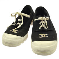 CHANEL Vintage CC Logos Sneakers Shoes Black Canvas #38 NR12983k