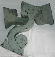 French Antique Hand Carved Wood Pillars Posts Volutes Old Greenish Patina Superb