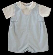 Boys Petit Ami Blue Pintucked Classic Shortall 3m White Romper Onepiece Portrait