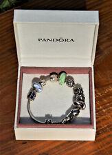 "Authentic Pandora 7"" Sterling Charm Bracelet, Original Box, 12 Charms 54+ Grams!"