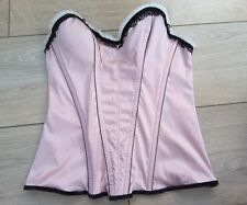 MARKS AND SPENCER Ceriso pink black lace basque corset bustier bows & spot 34B