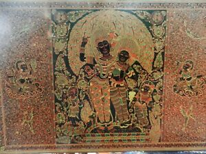 ANTIQUE BURMESE LACQUERWARE~HAND ENGRAVED WALL ART~RARE LARGE SIZE~36 X 24 INCH