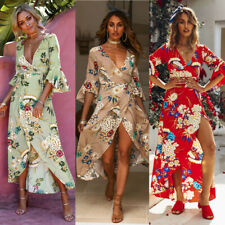 Women's Maxi Boho Dress Floral Summer Beach Cocktail Evening Party Long Sundress