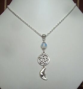 Moonstone Pentagram Crescent Moon Pendant 925 Sterling Silver Chain Necklace New
