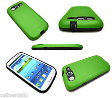Samsung Galaxy S3 DUAL SLIM Hybrid Protective Impact Resistant case cover Green