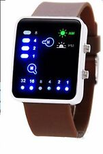Led Binary Digital Watch Mens Fashion Casual Sport Wrist Watches Brown UK brw S