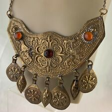 VINTAGE TIN BRASS STATEMENT HAND CHASED CHARM BIRD NECKLACE IRAN MIDDLE EAST