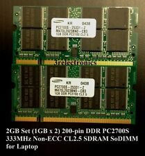 2GB Set (2x1GB) 200-Pin DDR PC-2700S 333MHz CL2.5 NON-ECC SDRAM SODIMM LAPTOP