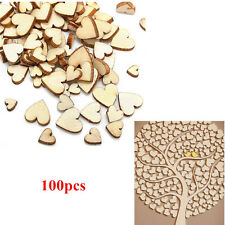 100x Wooden Love Heart Shape Small Wood Piece Wedding Table Scatter Decor Mix UK