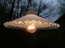 A VINTAGE, ART DECO, FRENCH, CRIMPED EDGE, OPAQUE GLASS PENDANT LIGHT FITTING