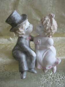Bride & Groom Sitting Kissing Couple Cake Topper - 8cm(H)x6.5cm(W)x6cm(D) -Resin