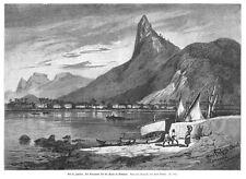 Rio de Janeiro, Brasilien, mit Corcovado und Botafogo, Original-Holzstich 1885