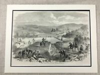 1855 Print The Battle of  Chornaya Crimean War Military Genuine Antique