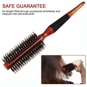 Hair Brush Comb Round Anti static Curly Natural Bristle Wood Handle Hair Styling