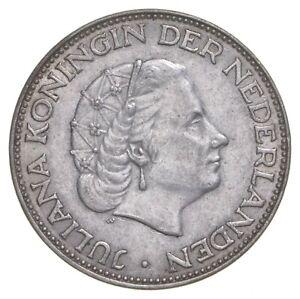 SILVER Roughly Quarter Size 1962 Netherlands 2 1/2 Gulden World Silver Coin *899