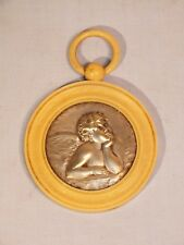 Ancienne médaille de berceau - angelot en métal argenté