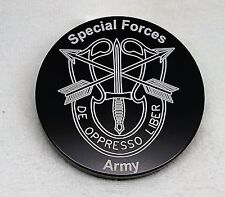 """U.S. Army, Special Forces, Billet Aluminum Trailer Hitch plug Cover, 4"""" Round"""