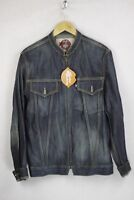 VINTAGE RARE Mens MICHIKO KOSHINO London Denim Jacket Zipper SLIM Small UP1RL