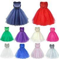US Flower Girls Dress Pageant Party Wedding Bridesmaid Bowknot Sequins Tutu Gown
