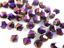 Bulk 200pcs Metal Purple Glass Crystal Faceted Bicone Beads 4mm Spacer Findings