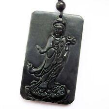 Black Green Jade Tibet Buddhist Amulet Pendant Guanyin Kwan Yin Bodhisattva