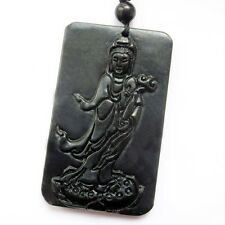 Black Green Jade Tibet Buddhist Amulet Pendant Kwan Yin Bodhisattva