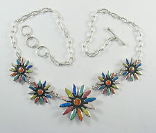 .950 fine silver multi-colored opal necklace