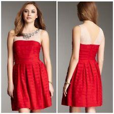 BCBG Max Azria Marina Red Tiered Flared Skirt Dress Size XXS 2XS Cocktail Beaded